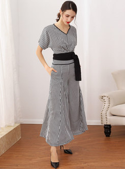 Elegant V-neck Tied Top & High Waist Wide Leg Pants