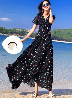 Polka Dot V-neck Gathered Waist Hem Maxi Dress