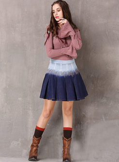 Color-blocked High Waist Denim Mini Skirt