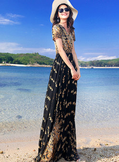 Chic Print V-neck High Waist Slim Maxi Dress