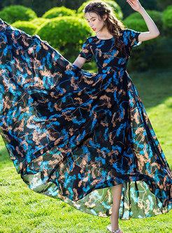 Stylish Print O-neck High Waist Slim Beach Dress