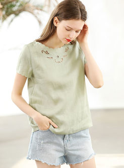 Casual Pure Color O-neck Hollow Out T-shirt