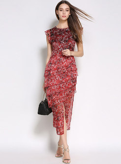 Stylish Floral Print Falbala Split Bodycon Dress
