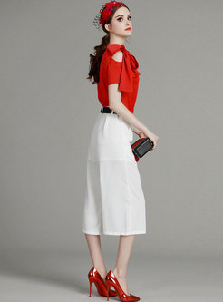 Fashion Red Bowknot Off Shoulder Top & Pure Color Pants