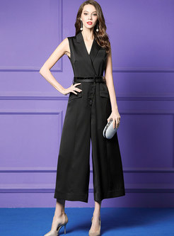 Work Lapel Sleeveless Wide Leg Jumpsuit