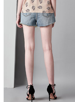 Stylish Denim High Waist Holes Shorts
