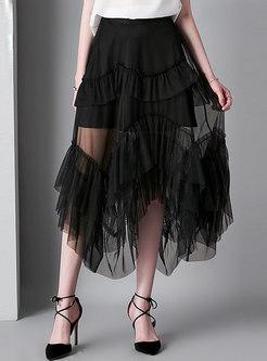 Sexy Mesh Perspective Asymmetric Skirt