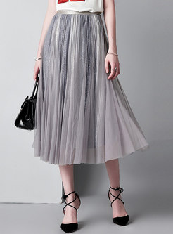Chic Color-blocked Elastic Waist Pleated Skirt