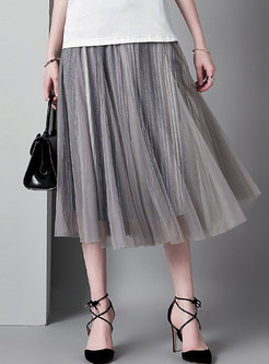Chic Color-blocked Elastic Waist Pleated Skirt