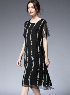Elegant Striped O-neck Loose Midi Dress