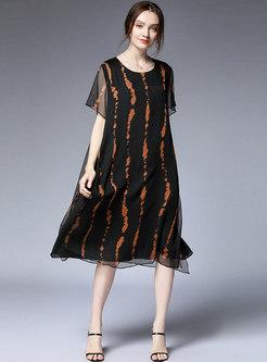 Casual Striped O-neck Loose Midi Dress