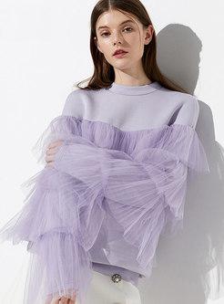 Chic Purple Mesh Slit Loose Casual Sweatshirt