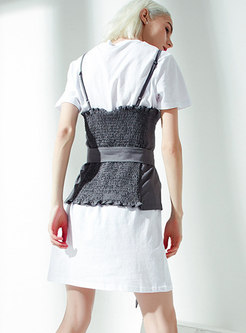 Chic O-neck T-shirt Dress & Double-breasted Belted Tanks