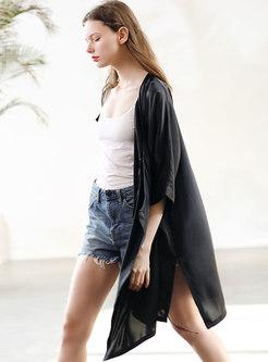 Solid Color Tied Slash Neck Silk Shirt Coat
