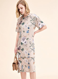 Elegant Print O-neck Loose Midi Dress