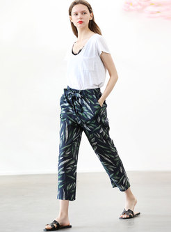 Linen Tied Casual Easy-matching Straight Pants