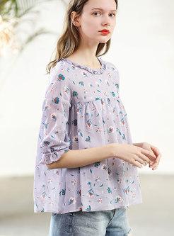 Fashion O-neck Print Cute Loose Blouse