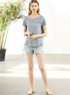 O-neck Hollow Out Short Sleeve Pullover T-shirt