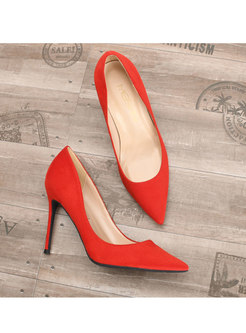 Pure Color Flock Thin Heel Shoes