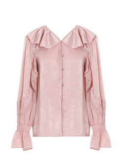 Turn Down Collar Flare Sleeve Single-breasted Blouse