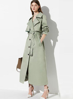 Elegant Turn Down Collar Belted Slim Trench Coat