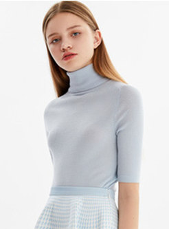 Brief Solid Color High Neck Slim Knitted Top