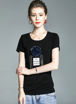 Black O-neck Short Sleeve Patch Print T-shirt