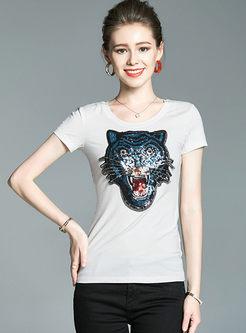 Stylish Tiger Sequined Cotton Slim T-shirt