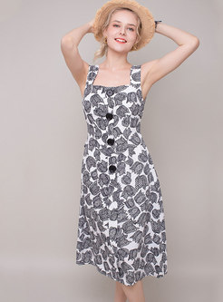 Print Square Neck Sleeveless Slim Slip Dress