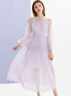 Mesh Off Shoulder Lantern Sleeve Slim Dress