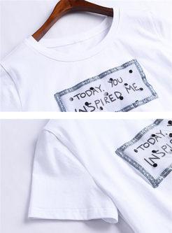 O-neck Letter Print T-shirt & High Waist Polka Dot Skirt