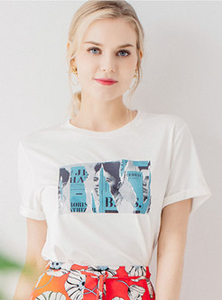 Chic Print O-neck Loose T-shirt