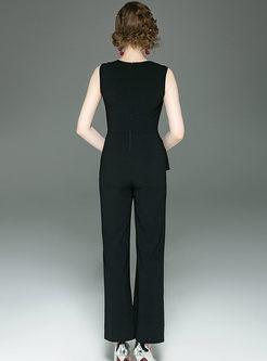 Summer Work V-neck Sleeveless Diamond Jumpsuits