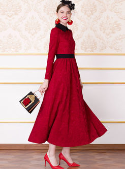 Elegant Lapel Long Sleeve High Waist Maxi Dress
