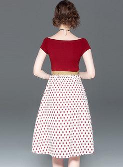 Slash Neck Slim T-shirt & Polka Dot Belted Skirt