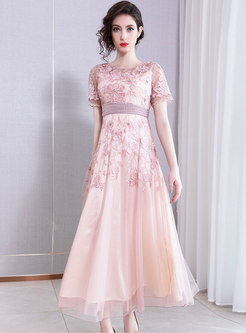 Elegant Embroidered Drilling Slim Maxi Party Dress