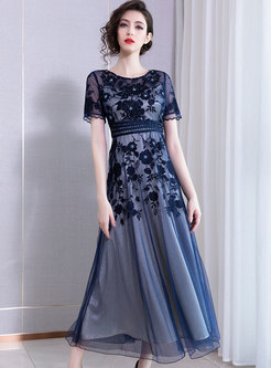 Chic Embroidered Drilling Slim Maxi Party Dress