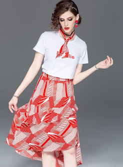 Letter Print Tie T-shirt & Print Asymmetric Skirt