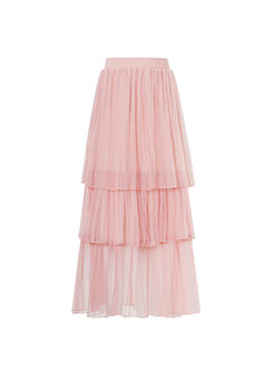Sweet Elastic High Waist Mesh Cake Skirt