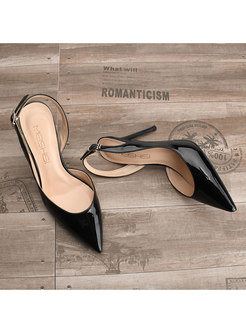 Brief Pointed Toe Buckle High Heel Shoes