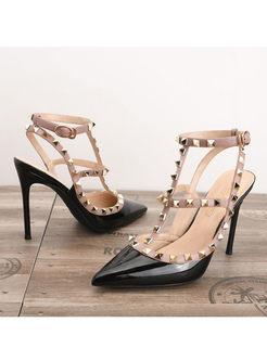 Stylish Pointed Toe Rivet High Heel Shoes
