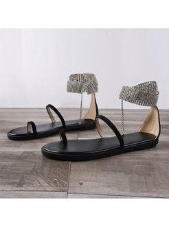 Trendy Easy-matching Flat Diamond Sandals