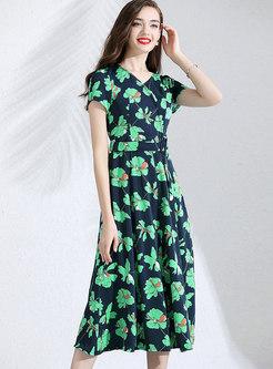 Elegant Print V-neck High Waist Slim Dress