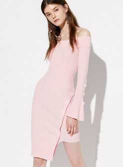 Solid Color Slash Neck Asymmetric Knitted Dress