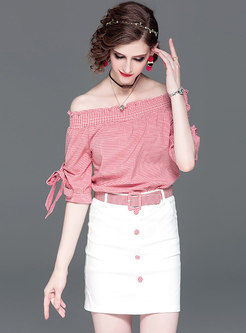 Stylish Plaid Slash Neck Top & Splicing Sheath Mini Skirt