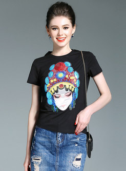 Casual Cotton O-neck Embroidered T-shirt