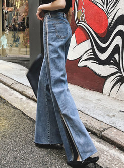 Chic Striped Splicing Split Retro Straight Pants