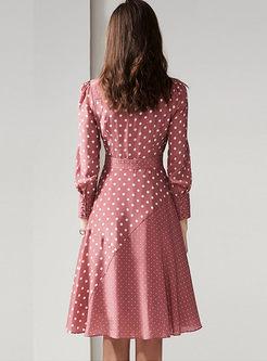 Casual Turn Down Collar Polka Dot Skater Dress
