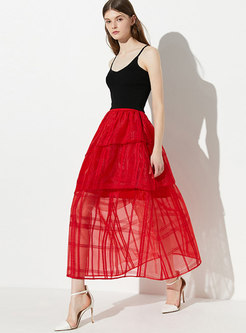 Elegant Mesh High Waist Cake Skirt