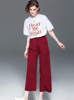 Letter Print O-neck T-shirt & Tie-waist Wide Leg Pants